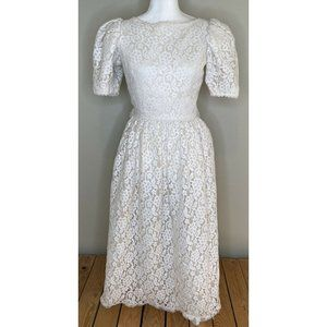 Vintage VICTOR COSTA Knee Length Lace Dress Size 6